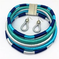 Liffly marca colar brincos multi-camada tecida jóias gargantilha colar noiva casamento africano miçangas jóias conjunto para mulheres 1023 T2