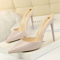 Traumhafte Hochzeitsschuhe Iinen-Patentleder-spitzen Pumpen mit Kristallgurt Designer High Heels Kleid Schuhgröße 34 bis 40