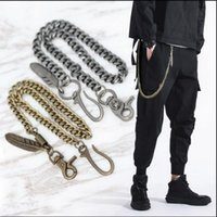 Keychains Mens Black Gun Extra Long Wallet Chains Thick Metal Cuban Curb Links KeyChain Leather Skull Jeans Chunky Biker Chain -80cm