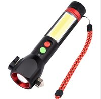 Novelty Lighting USB charging multifunctional flashlight flash light lamp with Safety hammer electric alarm magnet belt cutter compass vehicle