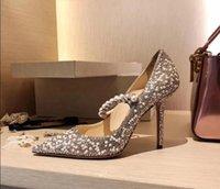 가죽 얇은 발 뒤꿈치 가죽 얇은 얇은 진주 모조 다이아몬드 샌들이 뾰족한 뾰족한 모조 다이아몬드 샌들