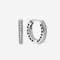Mannen Dames Kleine Cirkel Oorbel CZ Diamond Summer Sieraden voor Pandora 925 Sterling Silver Pave Heart Hoop Oorbellen WithDff0680
