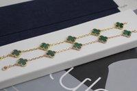 الخامس الكلاسيكية خمسة مزهر أربع أوراق البرسيم سوار أزياء لونين أسود العقيق الأخضر