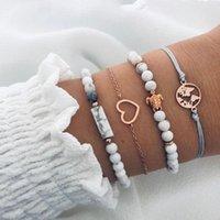 Charm Bracelets 4 Pcs lot 2021 Jewelry Bracelt For Women Beads Bracelet Patterned Stone Tortoise Heart Map Friendship