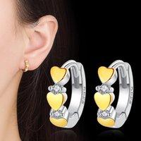 Hoop & Huggie Korean Silver-plated Earrings Gold Heart-shaped For Women Earring Earings Jewelry Earing Brincos Brinco Oorbellen