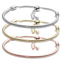 Silver Plated Bracelets 3MM Chain Adjustable Fit pandora charms Gold Rose Bangle Bracelet Women Female Christmas Party Birthday Gift BR020