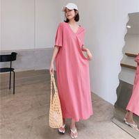 Casual Dresses Summer dress, women's t-shirt, vintage party, big, short sleeve, beach, maxi pure prom OKWU