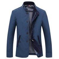 Uomini blazer casual 2021 primavera autunno business blu scuro blu kaki cappotto stand collare outwear moda abbigliamento vestito giacca da uomo Abiti da uomo Blazer