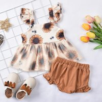0-12M Born Baby Girls Clothes Sets Sunflowers Print Mesh Lace Sleeve Tops Shorts Clothing