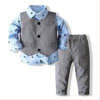 Kids Gentleman Baby Boy Clothes Blue Shirt Bow Tie+Vest+trousers 3pcs Newborn Boy Set Infant Clothing