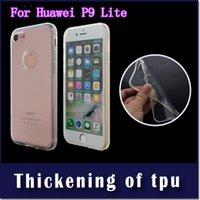 2mm kalınlığı zırh şeffaf yumuşak tpu için huawei p9 lite p8 lite telefon koruyucu kılıf kapak opp torba