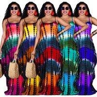 Tamaño S-3XL para mujer vestido largo corbata de verano tinte impresión de impresión suelta con desgaste de bolsillo Falda de longitud del piso de la moda más 5 colores