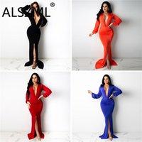 Casual Dresses Women Fall Deep V Neck Sexy Floor Length Party Night Club Vestidos