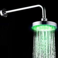 ROUNT 6 pouces salle de bain en acier inoxydable RVB LED lampe de douche Capteur de température Capteur de température avec l'ensemble des accessoires de bain de la couleur CHA RRD7091