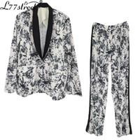 Kore özel ilgi tasarım ulusal moda mürekkep yüksek sokak retro soğuk tarzı takım elbise elastik bel bluz ve pantolon kadın iki parçalı