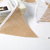 Spitze Sackleinen Dreieck Banner DIY Dekoration Für Hochzeitsdusche und Partei 12 Flaggen Weiß Blumen Spitze Kollektion Rustikale Leinen Pennant HWA7164