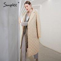 Simplee Moda Kadın Kış Rüzgar Geçirmez Ceket Rahat Sashes Kadınlar Kış Parka Uzun Düz Ceket ile Rhombus Desen 20201