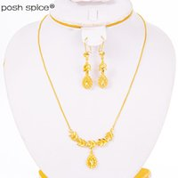 Earrings & Necklace Heart For Women Ethiopian Dubai Jewelry Sets African Gold Color Love Arab Bridal Dowry