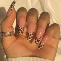 False Nails 24pcs Leopard Long Coffin With Designs Wearable Ballerina Acrylic Fake Full Cover Press On Nail Tips Accessory