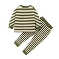 Clothing Sets 2 Pieces Kids Suit Set Striped Round Neck Long Sleeve Pullover + Pants For Toddler Boys, 18 Months-6 Years