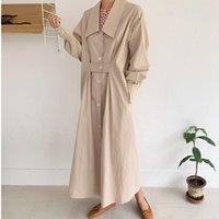 [EWQ] Kore ince uzun trençkot dış giyim gevşek bayanlar haki gömlek rüzgarlık 2020 sonbahar minimalist chic casual kadınlar QK56412