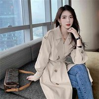 Fashion Fall  Autumn Casual Vintage Double breasted Simple Classic Long Trench Women Coat Oversize Female Windbreaker 210423