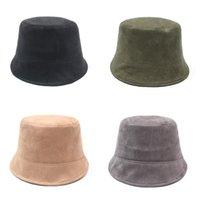 Solid color suede fisherman's hat Sunshade bucket cap