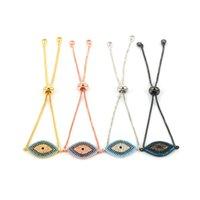 DANKAISHI Designer Turkish Evil Pave CZ Blue Eye Gold Chain Fashion Charm Bracelets for Women