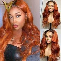 Ombre Color Orange Ingwer Human Hair Perücken Für Frauen Prepucked Body Wave Lace Front Perücke Brasilianische Verschluss mit Baby