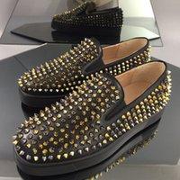 2021 Austrália Plataforma Mens Mulheres Casuais Sapatos de Alta Qualidade Moda Sapatilhas Fundo Vermelho Slip-on Silver Spikes Adorn Toecap Big 42