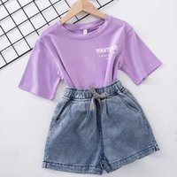 White Cotton Girls Clothing T Shirt Shorts Jeans Costume For Teenage Kids Childrens Clothes 4 6 8 10 12 14