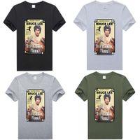 قمصان البولو الصيف جولة الرقبة قصيرة الأكمام العلامة التجارية بروس لي الأزياء الطباعة كبيرة الرجال تي شيرت