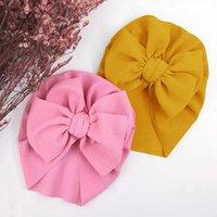 Big Bows Girl Hat Solid Color Baby Bonnet Весна Летние Детские Головные Устройства Малыш Девушки Тюрбан Младенческие Детские Шаповые Шапки Шапки