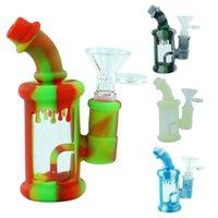 "shisha hookah Miniature hookahs glass bong dab silicone shell height 4.5"" water smoking pipe"