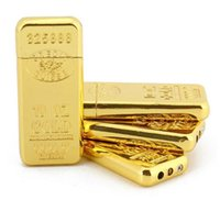 Gold Bar Brick Shaped Bricking Wheel Sigaretta Accendino Ultra sottile Butano Metallo Fumatori Accendini Fiamma Nessun ACCESSORI GAS Strumenti