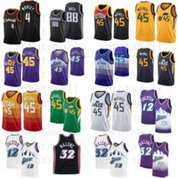 Donovan 45 Mitchell Jersey Basketball Mens 4 Evan Mobley 88 Neemias Quéta Karl 32 Malone John 12 Stockton T-shirt rétro