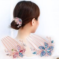 Hair Clips & Barrettes 1pc Colorful Flowers Rhinestone Hairpins Retro Women Hollow Out Crystal Comb Hairpin Fashion Accessories Headdress