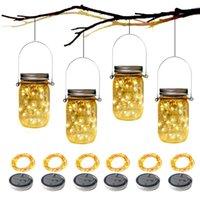 Solar Lamps 6PCS Mason Jar Lid Light 2m String Lights Handle 20 LEDs Hanging Lantern Lamp Garden Bar Decoration Colorful Strips
