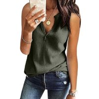 Womens Sleeveless V Neck Tshirts Solid Knit Waffle Loose Fitting Tee Tops Plus Size T-shirt Elegant Vintage Aesthetic Clothes Women's