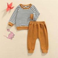 Clothing Sets 2pcs Kids Autumn Tracksuit Unisex Boys Girls Stripe Long Sleeves Pullover Shirt Casual Pants Set Toddler 0-24M