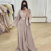 Elegante marokkanische caftan muslimische formelle kleider a-line langarm abendkleider für frauen dubai saudi arabische robes de soirée