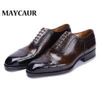 Dress Shoes Men Genuine Leather Vintage Retro Custom Blake Handmade Office Fashion Formal Wedding Party Oxford
