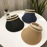 حافة واسعة القبعات للنساء المرأة الصيف قبعة القش الشمس الملحقات حماية الأزياء شاطئ 2021 قناع الخريف قبعة القش فارغة