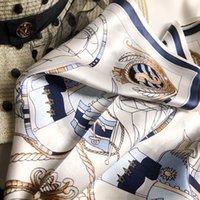 Preety軽量シルクスカーフ女性のボートプリントスカーフレトロなスタイルショールスクエアネクタイスカーフ春の夏のスカーフ50 * 50cm