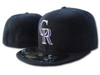 남자의 CR 장착 모자 블랙 퍼플 컬러 플랫 바이저 필드에 모든 팀 스포츠 야구 적합 모자 삭스 팬의 힙합 전체 폐쇄 캡 C
