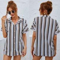Women's Blouses & Shirts Polyester Spandex Blending Contrast Colours Striped Print Laptops Lapel Neck Long Sleeve Summer Wear