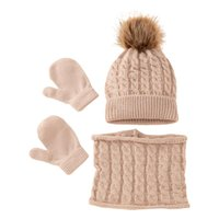 Clothing Sets Winter Warm Baby Solid Color Hat Gloves Scarf Set Fur Ball Beanies Mitten Scarves Kit For Toddler Girls Boys K1KC