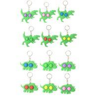 Bubble Fidget Keychain Party Decor Kids Novel Keychains Dinosaur Key Holder Rings Toys Bag Pendants Decompression Toy