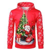 Calofe Nueva impresión para hombre Sudadera Santa Claus patrón de Navidad Moda con capucha Tops Snowflake Pullover Jumper de Navidad Traje