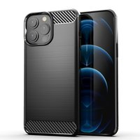 TPU Phone Cases For Iphone 13 Pro Max Carbon Fiber Brushed Soft Mobile Cover Compatible with 12 11 XS XR 7 8 Plus